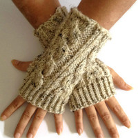 Wrist Warmers Fingerless Gloves in Oatmeal Cable Handknit