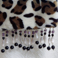 Leopard Minkee Scarf with Beaded Fringe US Shipping Included