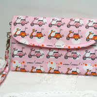 Zippered clutch pink scooter, wristlet pouch, padded clutch purse