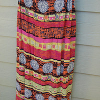 Vintage 80s 90s tribal Boho Long Crinkle Cloth Rayon Skirt w/ Beading Size Medium
