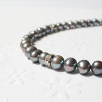 Grey Pearl Anklet with Silver