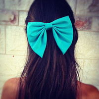 BIG Turquoise unique hair bow