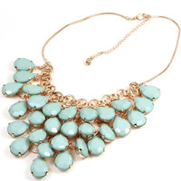 chic light blue beads rose gold metal collar bib choker Necklace n348