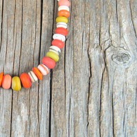 Coral Necklace Bohemian Jewelry Lampwork Glass Beads Handmade Southwestern Tribal Boho Colorful Orange