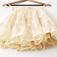 Cream Lace skirt , knee length skirt, lacy skirt