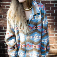 Vintage Blue Southwest Oversized Zip Fleece