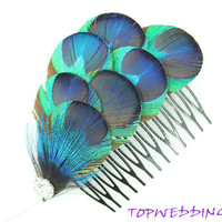 Wedding Fascinator, Peacock Feather Comb, Wedding Bridal Hair Piece