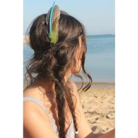 Handmade Green Feather Headband