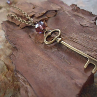BRONZE and CRYSTAL KEY long vintage chain by AsaiBolivien on Etsy 9,90 US$