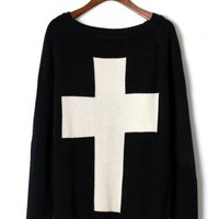 Cross Print Black Sweater - New Arrivals - Retro, Indie and Unique Fashion