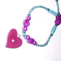 Purple heart necklace with gem and turquoise blue colors