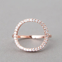 CIRCLE LOVE RING SWAROVSKI CIRCLE RING ROSE GOLD CIRCLE JEWELRY at Kellinsilver.com - Fashion Jewelry Online as ETSY