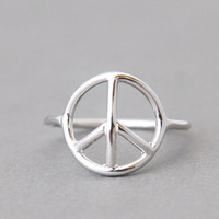 SILVER PEACE RING SILVER PEACE SIGN RING PEACE JEWELRY PEACE SYMBOL at Kellinsilver.com - Fashion Jewelry SHop as ETSY