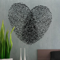 Fingerprint Heart  - Wall Decal Vinyl Decor Art Sticker Removable Mural Modern