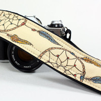 Camera Strap, Dream Catcher No.2, Hand Painted, OOAK, dSLR or SLR,