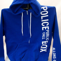 Police Box Hoodie Cobalt Blue With Sleeve by Geekiana