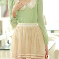 Token Gesture Peter Pan Collar Flouncing Sleeve Blouse in Apple Green | Sincerely Sweet Boutique