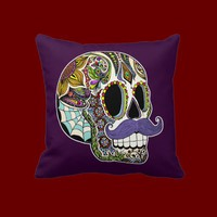 Mustache Sugar Skull Pillow - Color Customizable from Zazzle.com