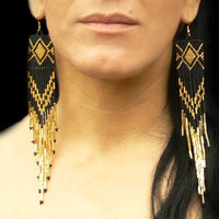 Extra Long Earrings. Gold and Black.  Native American Beaded Earrings. Very Long Shoulder Dusters