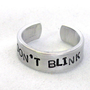 Don't Blink Dr Who Inspired Ring  Narrow Aluminum Band by foxwise