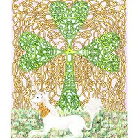 Unicorn with Celtic Knotted Shamrock, 3 greeting cards