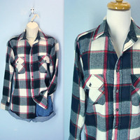 Vintage Flannel Shirt / Lumberjack Plaid 80s Shirt