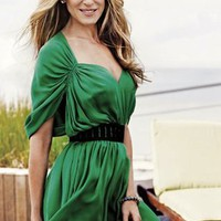 Halston Heritage Deep V Dolman Dress in Green