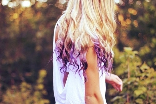 Blonde hair purple tips