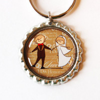 Wedding key chain, keychain, wedding favor, key ring, key chain, keyring, bride, groom, bride groom key ring (1983)