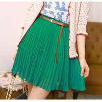 Sexy Women Girls Retro Pleated Mini Skirts Chiffon Waist Short Dress&amp;Belt O