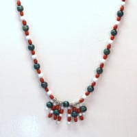 Handmade Beaded Necklace in Red, Green and White