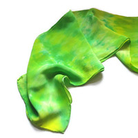 Hand Dyed Silk Scarf, Green and Yellow