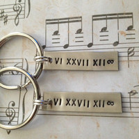 Couple's Keychains, Create Your OWN - Roman Numeral Date, Anniversary, Wedding, Personalized