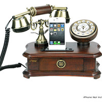 Pyle - PRT35I - Retro Home Telephone with Built-in iPhone Dock - Works with Smartphones like iPhone, Android, Blackberry and Any Mobile Phone with 3.5mm Jack