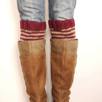 "Women""s Legwarmers, Oxblood Striped, Handknit Wool Boot Cuffs, Striped Boot Toppers, Boot Liners, Legwear, Handknit Winter Accessories"