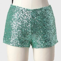 festivity sequined shorts in mint at ShopRuche.com