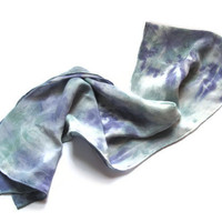 Hand Dyed Silk Scarf, Sage and Purple