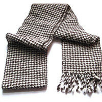 Handwoven Houndstooth Scarf, Brown and Creamy White