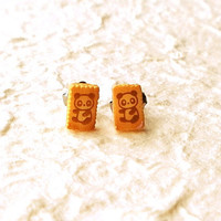 Tiny Panda Biscuit Earrings by SouZouCreations on Etsy