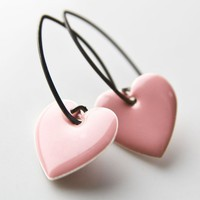 For You Earrings  Enamel silver hearts and sterling by betsy3