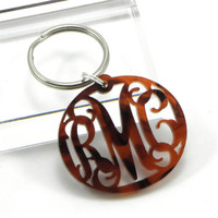 Tortoise Shell Monogram Keychain Acrylic - Personalized Gift for Bridesmaids - Custom Laser Cut Acrylic Accessories