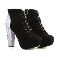 Missguided - Izzie Glitter Heel Shoe Boots