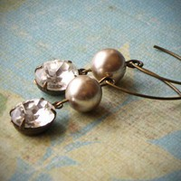Vintage Rinestone Earrings Bride Wedding Pearl by rewelliott