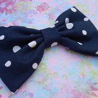 Navy/ White Dots Hair Bow, Girls Hairbow