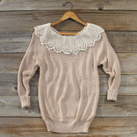 Lacecap Sweater in Toasted Marshmallow, Sweet Cozy Lace Sweaters