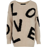 Grey love print long jumper