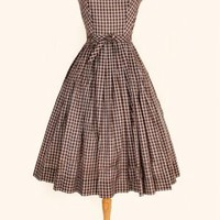 1950's Brown & White Check Day Dress - S