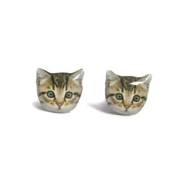 Cute Home Little Kitten Cat Stud Earrings - A14E84
