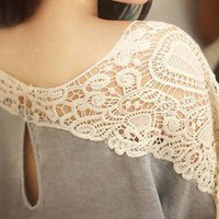 Enchanted Lace Sleeve Feminine Detailed Blouse Tee Top 6-C42 S