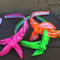 Bandana Knot Headband (NEON PINK)